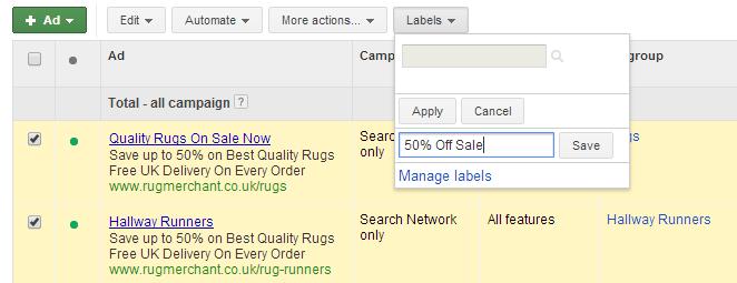 sale labels on google adwords