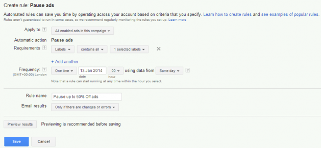 pause ads on adwords